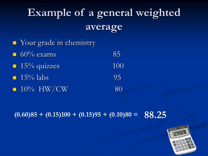 Example of a general weighted average