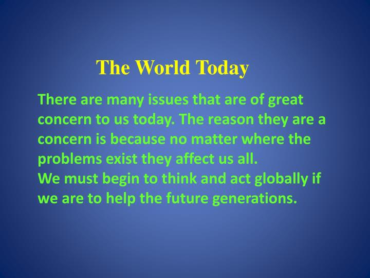 the world today n.