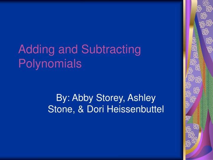 adding and subtracting polynomials n.