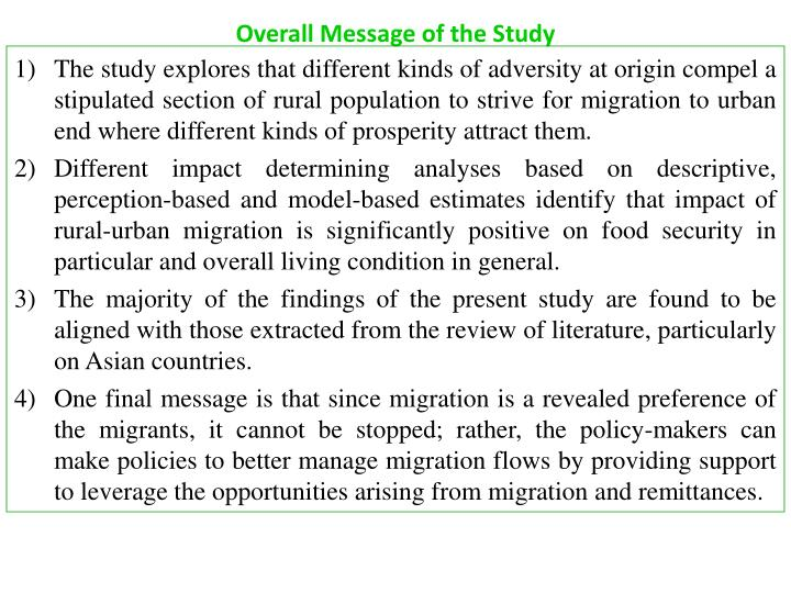 Overall Message of the Study
