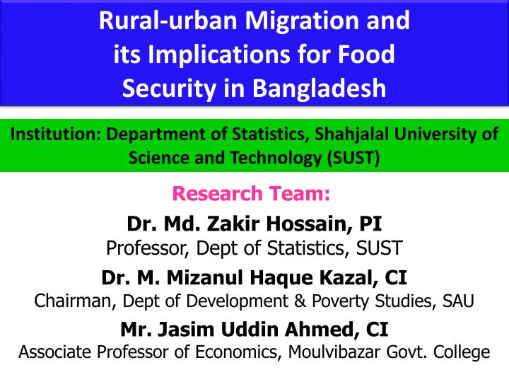 Rural-urban Migration and