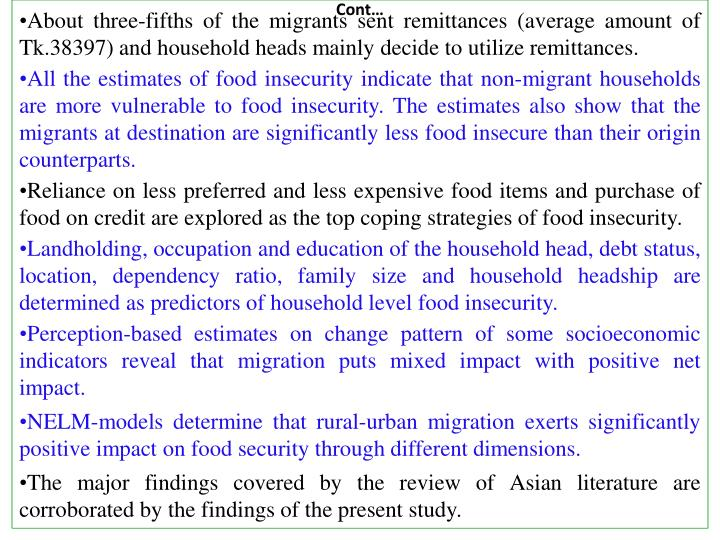 About three-fifths of the migrants sent remittances (average amount of Tk.38397) and household heads mainly decide to utilize remittances.