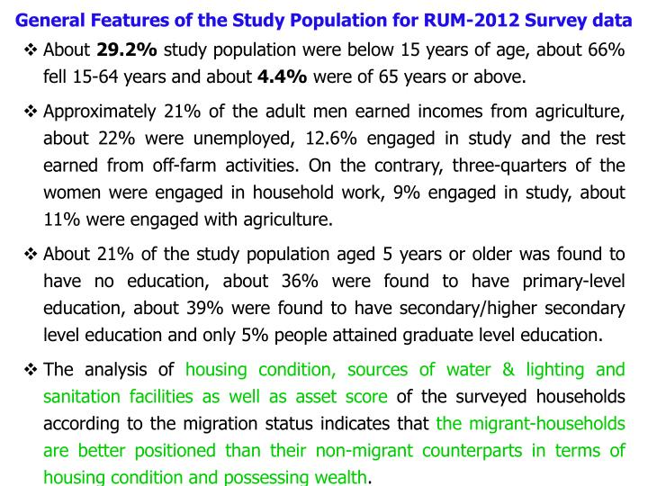 General Features of the Study Population for RUM-2012 Survey data