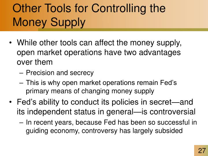 Other Tools for Controlling the Money Supply