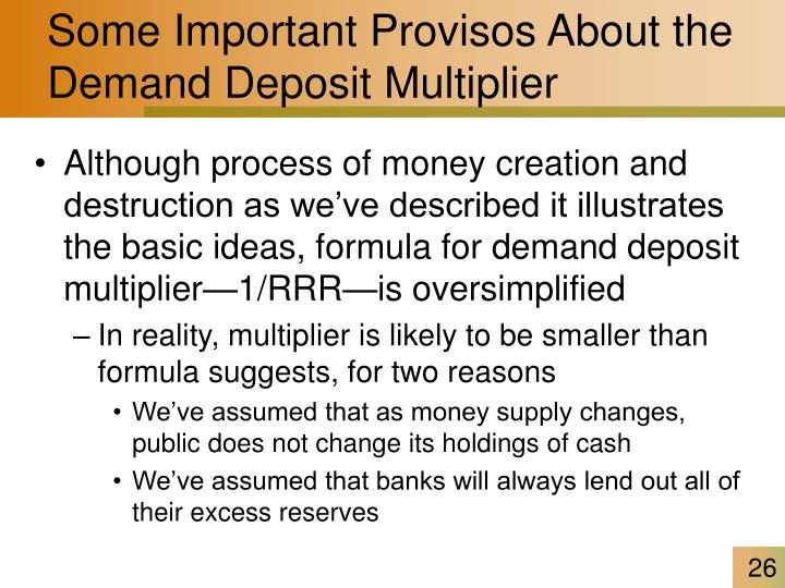 Some Important Provisos About the Demand Deposit Multiplier
