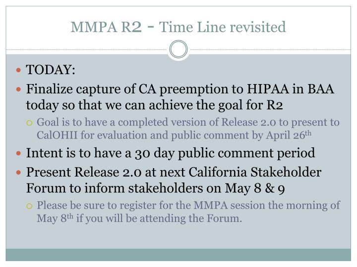 Mmpa r 2 time line revisited