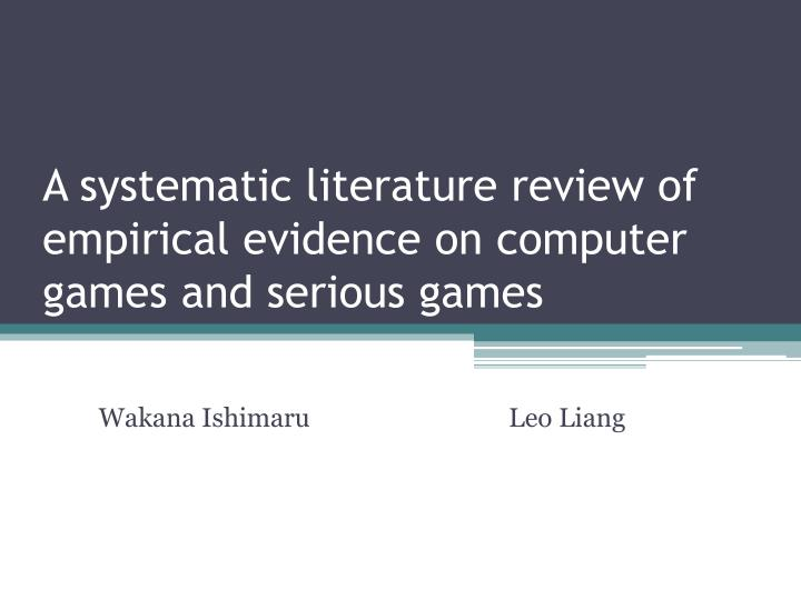 computer games review of related literature This literature review will define than by purely metalinguistic games and has published several college textbooks related to teaching reading.