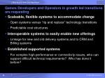 games developers and operators in growth led transitions are requesting1