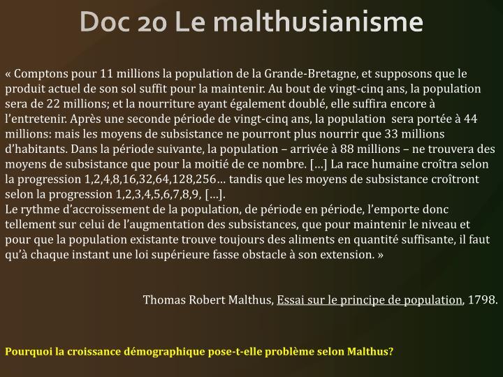 Doc 20 Le malthusianisme
