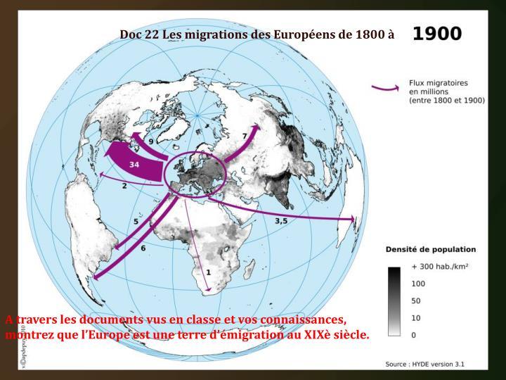 Doc 22 Les migrations des Européens de 1800 à