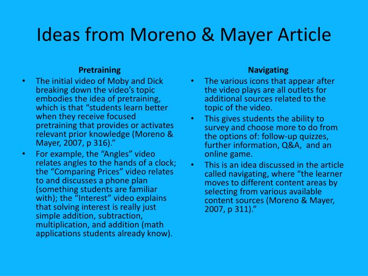 Ideas from Moreno & Mayer Article