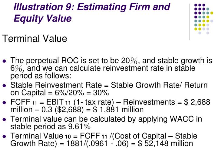 Illustration 9: Estimating Firm and Equity Value