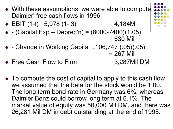 With these assumptions, we were able to compute Daimler' free cash flows in 1996: