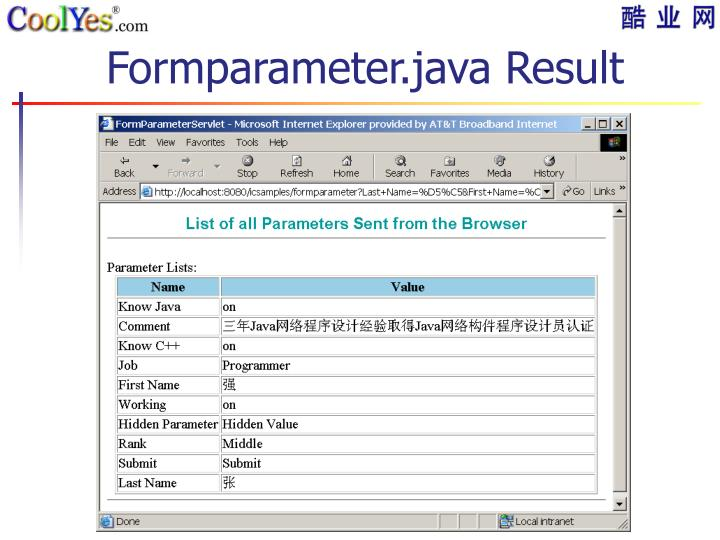 Formparameter.java Result