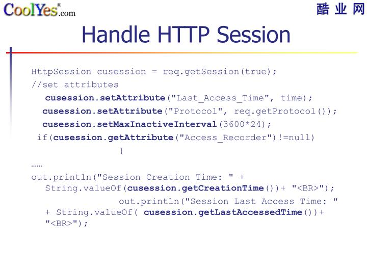 Handle HTTP Session