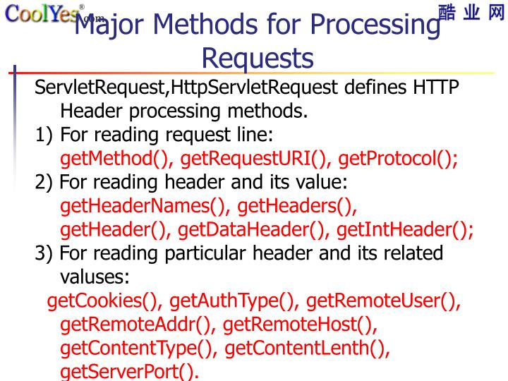 Major Methods for Processing Requests