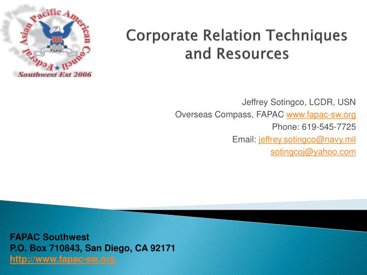 corporate relation techniques and resources n.