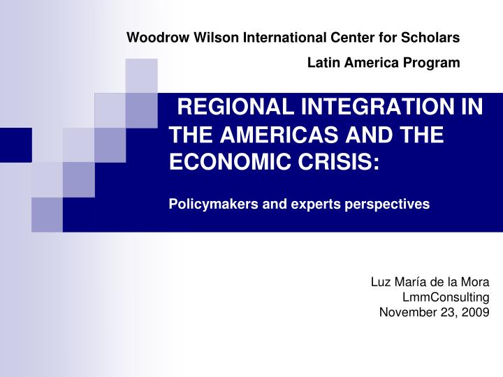 regional integration in the americas and the economic crisis policymakers and experts perspectives n.