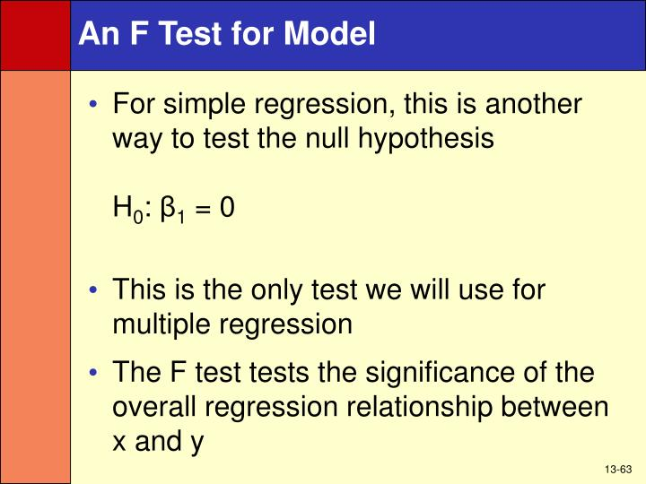 An F Test for Model