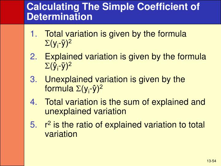 Calculating The Simple Coefficient of