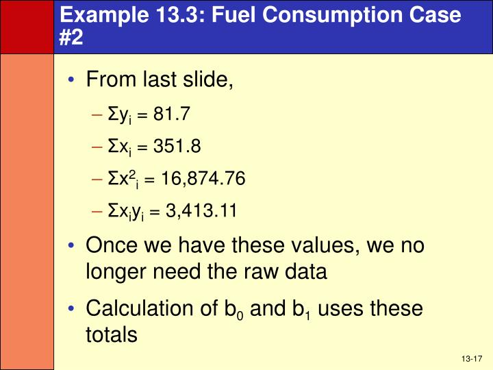 Example 13.3: Fuel Consumption Case #2