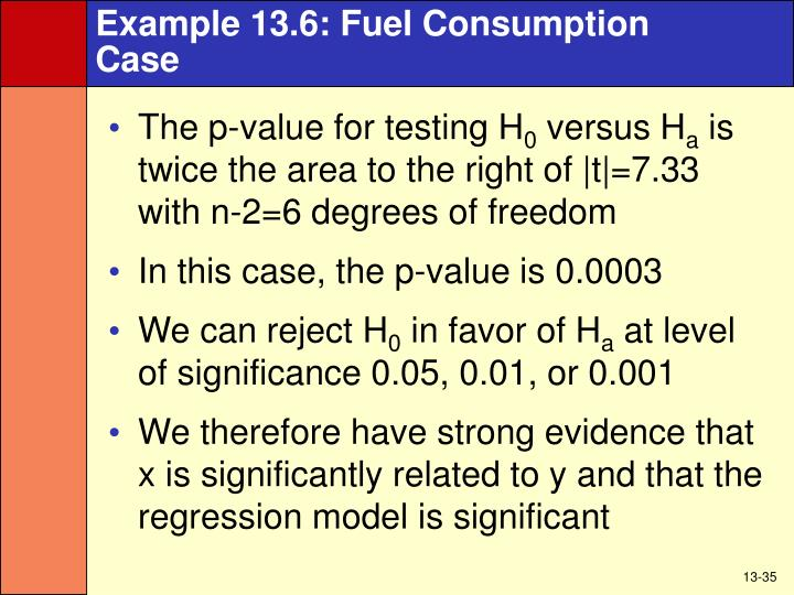 Example 13.6: Fuel Consumption