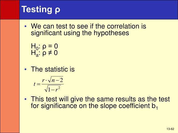Testing ρ