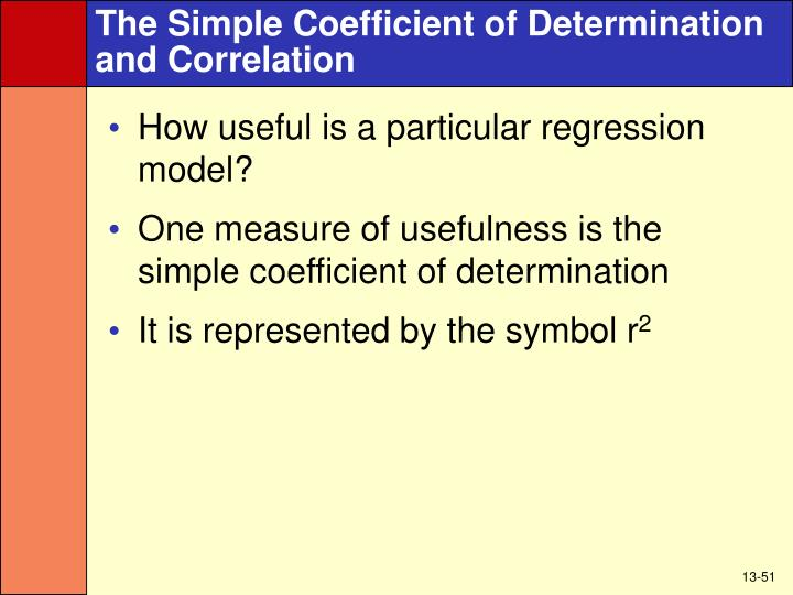The Simple Coefficient of Determination and Correlation