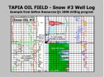 tapia oil field snow 3 well log example from sefton resources q1 2008 drilling program