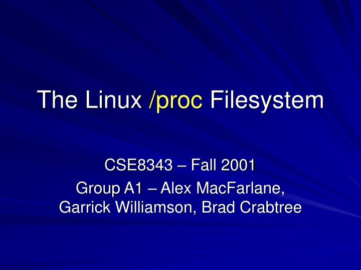 the linux proc filesystem n.