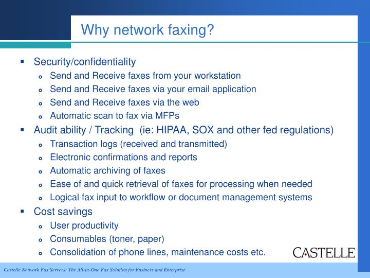 Why network faxing?