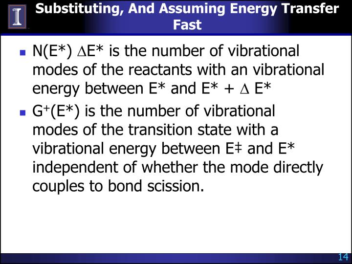 Substituting, And Assuming Energy Transfer Fast