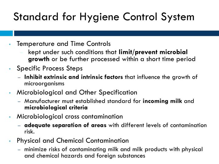 Standard for Hygiene Control System