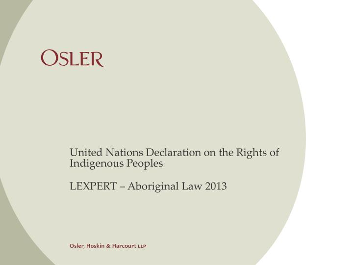 united nations declaration on the rights of indigenous peoples