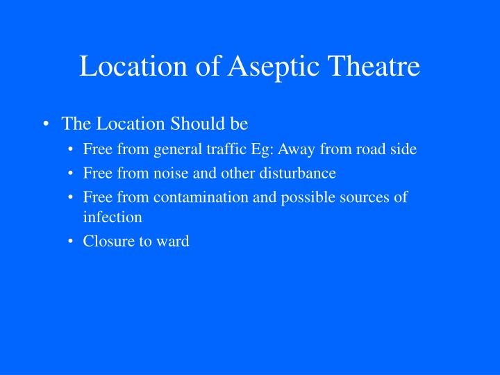 Location of Aseptic Theatre