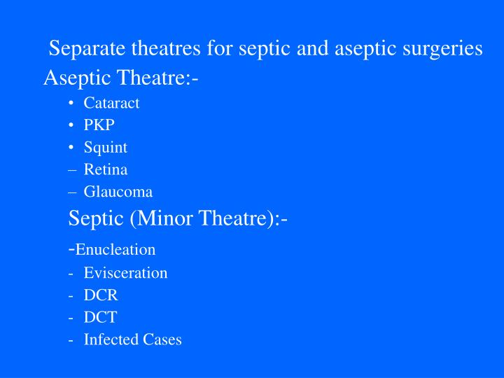 Separate theatres for septic and aseptic surgeries