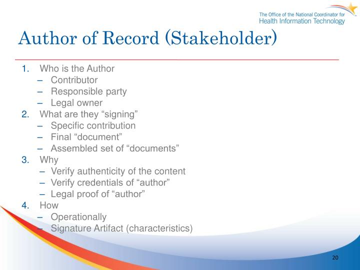 Author of Record (Stakeholder