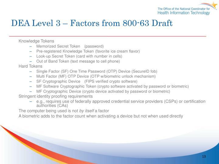 DEA Level 3 – Factors from 800-63 Draft