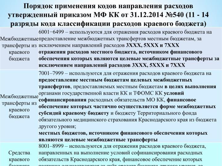 Порядок применения кодов направления расходов утвержденный приказом МФ КК от 31.12.2014 №540 (11 - 14 разряды кода классификации расходов краевого бюджета)