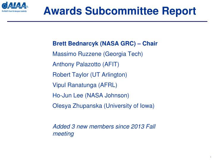 awards subcommittee report