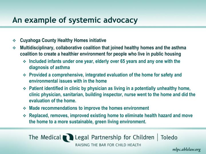 An example of systemic advocacy