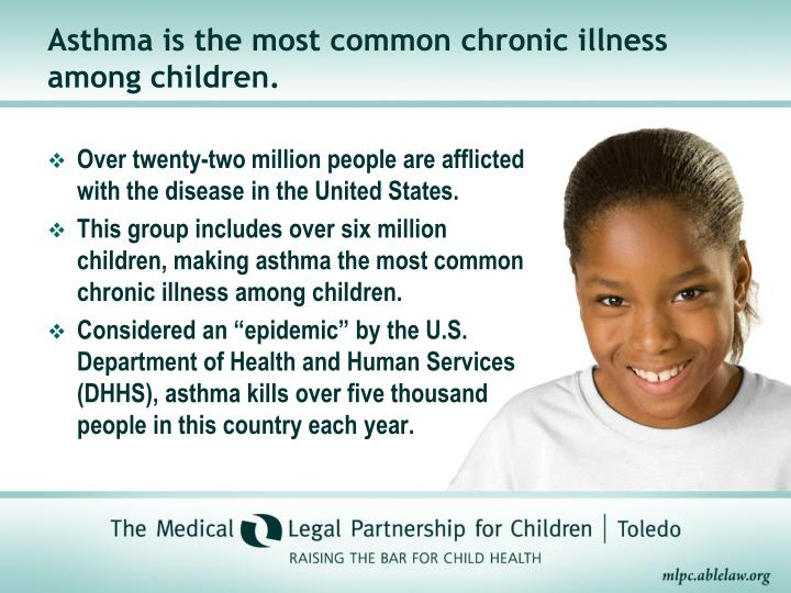 Asthma is the most common chronic illness among children.