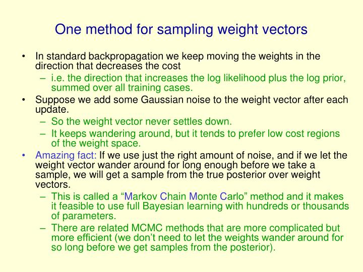 One method for sampling weight vectors