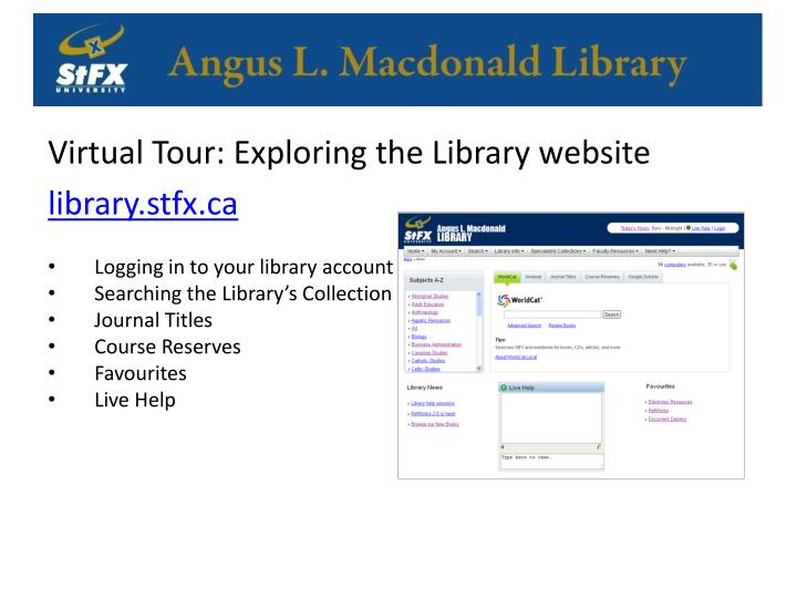 Virtual Tour: Exploring the Library website