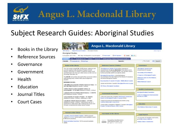 Subject Research Guides: Aboriginal Studies