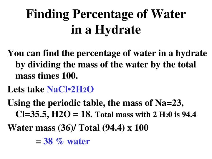 Finding Percentage of Water