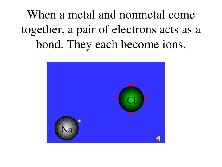 When a metal and nonmetal come together a pair of electrons acts as a bond they each become ions