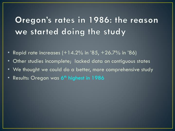 Oregon's rates in 1986: the reason we started doing the study