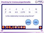 checking for inverse proportionality