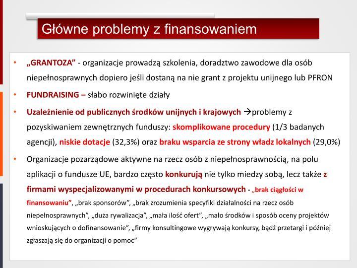 Główne problemy z finansowaniem